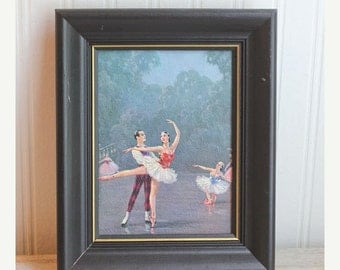 Vintage Ballerina Art, Framed Ballerina, Framed Print, Male  Female, Art Nouveau, Ballet Dancers, Blue, Classical Ballet, Home Decor