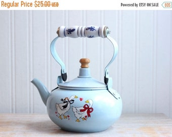 1980s Kitsch Country Light Blue Teapot with Geese, Metal Goose Teapot with Porcelain Handle, Dutch Home Decor, 80s Kitchen, Vintage Tea,