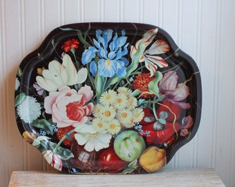 Vintage Floral Serving Tray, Decorative Tray with Flowers, Elite Trays from London England, Black Tray with Bright Colors, Shabby Chic Decor
