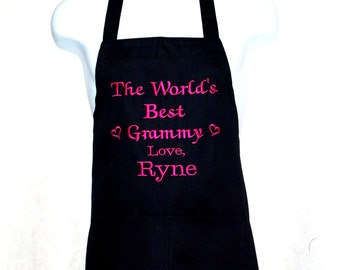 Worlds Best Grammy Apron, Personalize With One Name, Bacca, Bamma, Bamba, Bella, Birdie, No Shipping Charge, Ready To Ship TODAY, AGFT 403