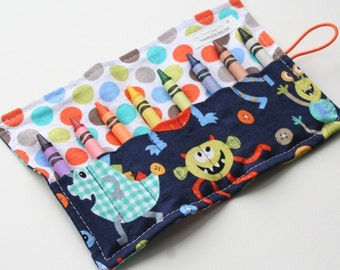 Crayon Caddy Roll Up - Monster Mash (8 Crayons Included) - Ready to Ship!