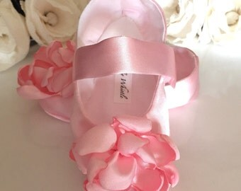 Pink Satin Flower Girl Shoes, Baby Girl Shoes, Toddler Girl Shoes - Valentines Baby