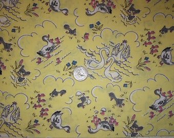 "Vintage Cotton Quilt Fabric 40s 50s The Ugly Duckling Mama Baby Ducks Swans Juvenile Novelty Sewing Material  8.5"" x 34""w majikhorsefabrics"