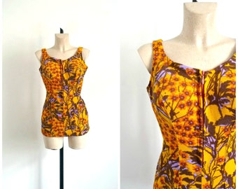 Vintage 60's TRIUMPH One Piece Swimsuit  Yellow Tones Colorful / Medium to Large Size