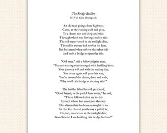 Poem Art Print, typography, inspirational graduation gift, mentor, The Bridge Builder,