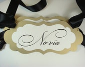Novia and Novio Wedding Chair Signs Prepared in Colors to Coordinate with your Wedding Reception