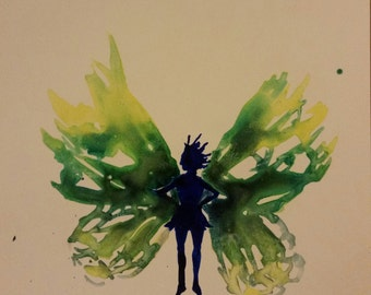 Original Watercolor, India ink painting on Yuppo paper-Forest Fairy
