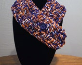 FLASH SALE Blueberry Orange Zest - Handmade Crocheted Adjustable Neckwarmer/Cowl - Team Spirit Wear/School Pride - Orange and Blue Scarf