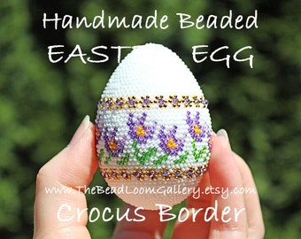 Handmade Beaded Easter Egg with Swarovski Crystals and 24K Gold Plated Seed Beads - Crocus Border