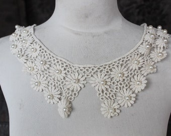 Cute beaded venice  applique ivory color   1  pieces listing