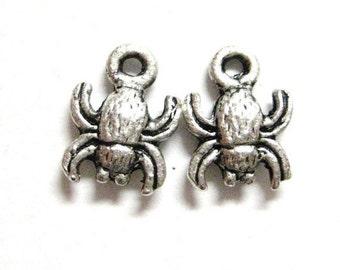 75% OFF - 4pcs Tiny Spider Crab 10mm Bead Goth Gothic Silver Charm Pendant Beach Halloween  158