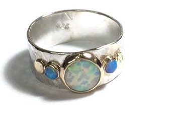 Handmade Engagement Ring - Fine 14k gold ring silver ring 8mm White opal, blue opal Gemstone Similar diamond ring MADE TO ORDER