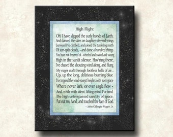 High Flight - 11x14 MOUNTED Word Art Print - Beautiful Quote by John Gillespie Mcgee, Jr - Soaring, flight, death, life, remembrance