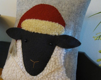 Christmas Sheep with Hat Primitive Pillow Whimsical Hand Made