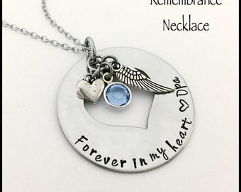 Personalized Forever In My Heart Remembrance Necklace...Memorial Jewelry... Hand Stamped Stainless Steel