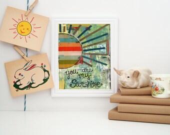 you are my sunshine sign, nursery decor, wall art, kids room art, sunshine art