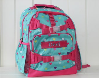 Large Pottery Barn Backpack With Monogram (Large Size) -- Aqua/Pink Heart