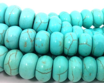 Natural Turquoise Rondelle 64 Beads 6X10mm