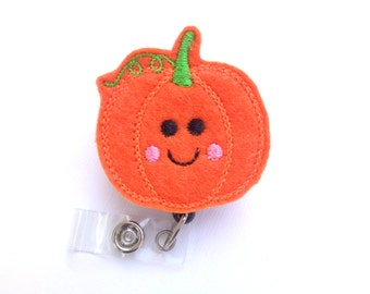 Badge Reel ID Holder Retractable - Happy Pumpkin with smiley face - orange felt - nurse badge reel medical badge reel fall halloween