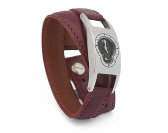 Red leather wrap watch, oxblood leather watch  - the Deco