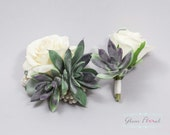 Succulent Corsage and Boutonniere Set - Real Touch Flowers, Prom Corsage, Succulent Boutonniere, Succulent Wrist Corsage, White and Green