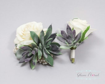 Succulent Rose Wrist Corsage & Boutonniere Set. Wedding Flower Prom Corsage- Real Touch Corsage- Wrist Corsage. natural white green purple