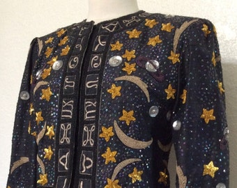 SALE Vintage Couture Zodiac Jacket - Elsa Schiaparelli Style Jacket, Beaded and Sequined Shooting Stars & Planets
