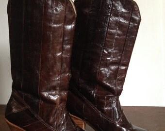 Vintage Sz. 6.5 Eel Skin Boots High Heel Boots Oxblood  / Maroon