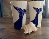 Mugs, whales, blue and white ceramic tall coffee, latte mugs