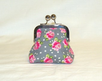Coin Pouch in Pink Rose Print on Grey Background