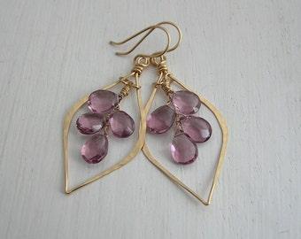 Pink Quartz Chandelier Leaf Hoops