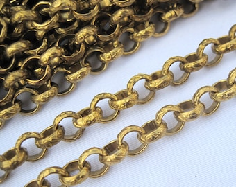2ft 6mm Brass Chain Textured Round Link Golden Chain Vintage Style bc026