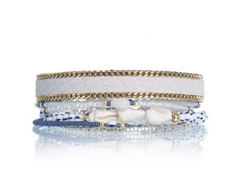 SALE Nautical bracelet - nautical jewelry - shell bracelet - maritime bracelet - white and navy maritime jewelry - beaded leather bracelet