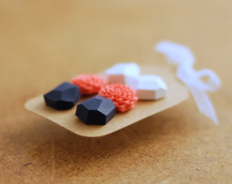 Earring Studs, Diamond shape studs, Geometric posts and flower post earrings set of three - white, coral, dark blue