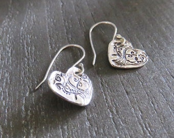 Heart Earrings - Antique Sterling Heart Earrings - PMC Heart Earrings - Sterling Silver Earrings - Stocking Stuffer - Holiday Gift Idea
