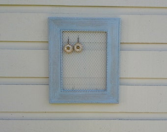 Earring Holder, blue grey/gray chalkpainted frame, aged and distressed, white metal insert for hook - post earrings