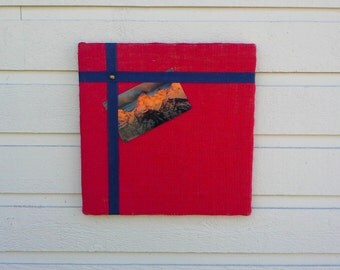 Bulletin pin Board, burlap with an accent of navy or tan cotton twill tape, modern design memo board for your office, kitchen or cabin