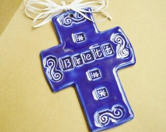 Personalized CALEB Ceramic Cross medium size in Cobalt Blue colored glaze