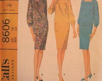 Vintage 1966 Three Quarter Sleeve Shift Dress Pattern Square Neckline McCalls 8606 Size 14
