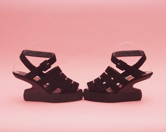 90s Platform Sandals // RARE Vintage // Jan Jansen // Designer Shoes // Gladiator Sandals // Strappy Heels // Cut Out Wedges // 6 1/2-7