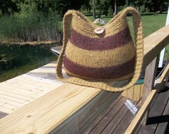 11-1041  Handknitted felted wool purse,tote,handbag fs
