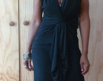 Black fittedv neck dress with drape front/ity jersey fabric