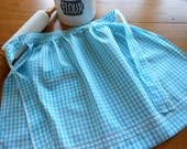 Unused Vintage Blue Gingham Half Apron With Hand Embroidery