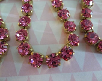 6mm Pink Rhinestone Chain - Brass Setting - Rose Pink Czech Crystals- Large Crystal Size 29SS