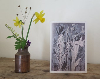 Pack of 6 Blank floral art greetings card  Wild flowers by Stef Mitchell. Modern floral organic botanical design Duck egg blue