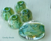 Handmade Lampwork beads - 'forest' - Creeky Beads SRA