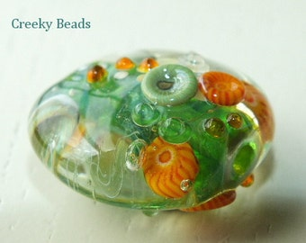 Handmade Lampwork Focal bead 'Orange & Green' Creeky Beads SRA