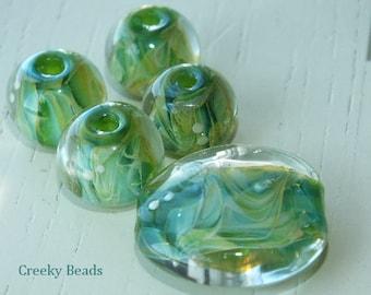 Handmade Lampwork beads - 'forest' - Creeky Beads SRA