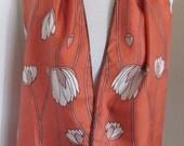 """Diane Von Furstenberg // Lovely Orange Floral Soft Silk Scarf // 13"""" x 52"""" Long"""