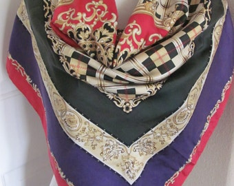"""Talbots Scarf // Lovely Colorful Soft Silk Scarf // 34"""" Inch 88cm Square //  Best of the Best"""